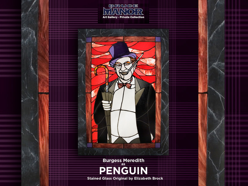 stained glass original by elizabeth brock - burgess meredith as penguin